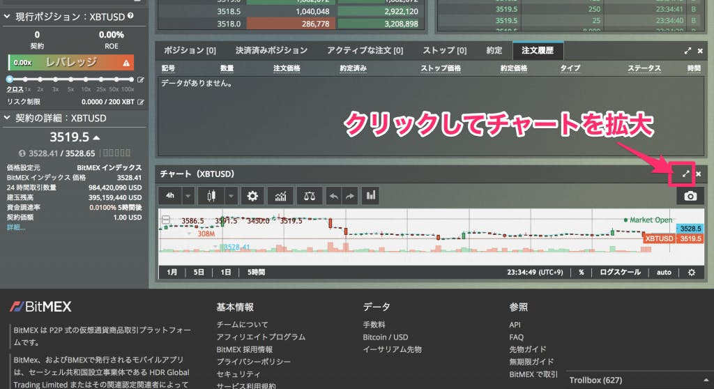 BitMEX (ビットメックス) チャート拡大