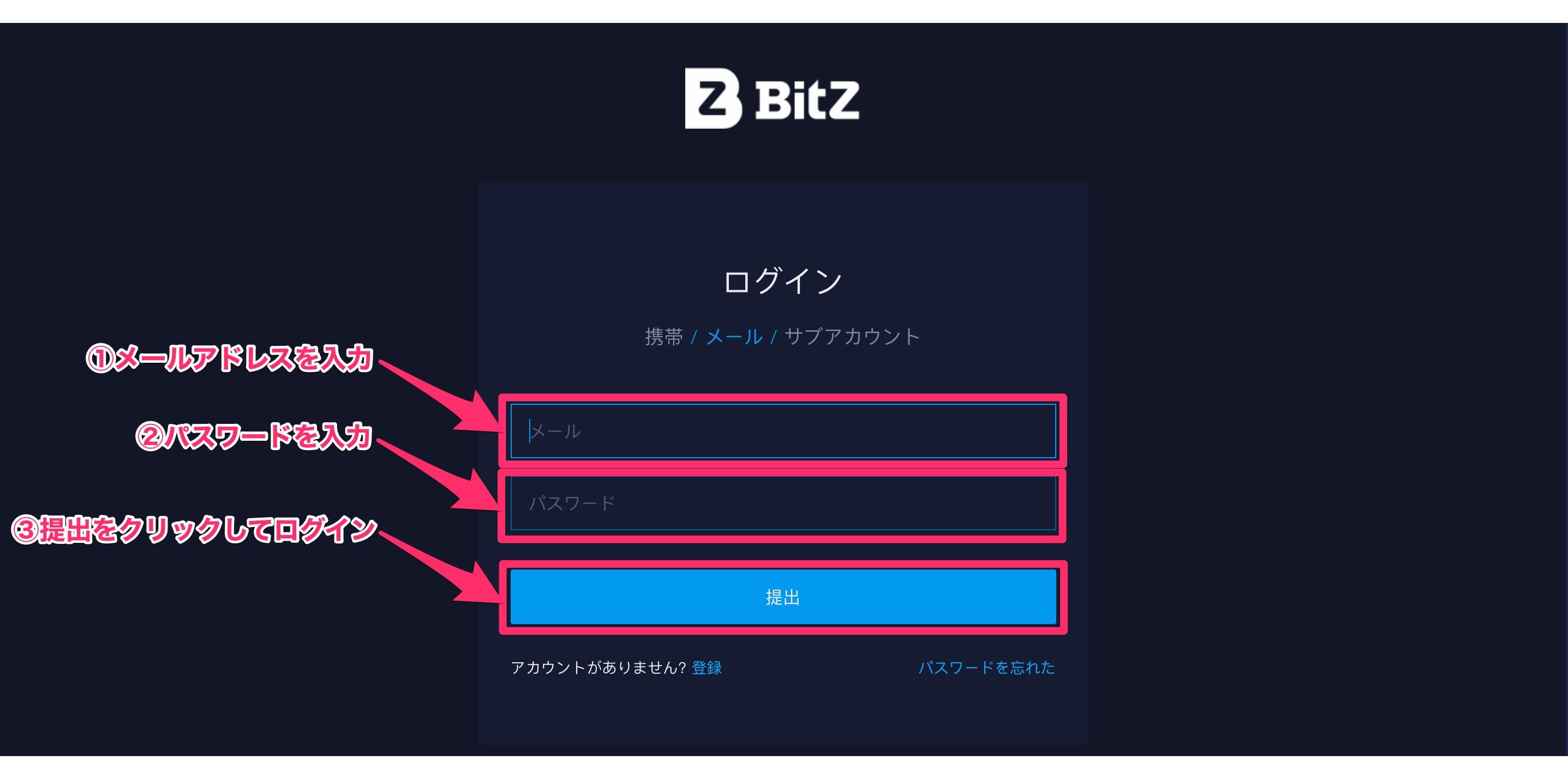 Bit-Zにメールアドレスでログイン